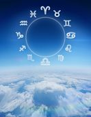 Zodiac chart against blue sky over clouds at high altitude