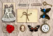 Vintage Things. Nostalgic Scrap Booking Background
