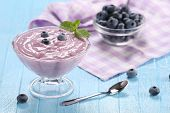 Yogurt With Blueberries In A Glass Bowl And Blueberries In A Glass Bowl