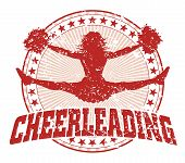 image of cheerleader  - Illustration of a cheerleading design in a vintage style with a jumping cheerleader silhouette - JPG