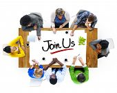 Multiethnic Group of People Discussing About Join Us