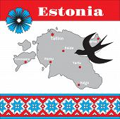 Map, Pattern And Symbols Of Estonia