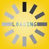 Abstract Loading Symbol On Yellow Background