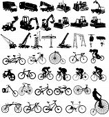 Vector illustration of bicycles and Construction vehicles