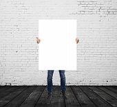 Man Holding Blank Placard