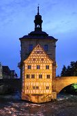picture of regnitz  - Bamberg is a famous historical town in Germany with the landmark city hall inside the river regnitz - JPG