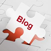 Blog Word On White Puzzle Pieces