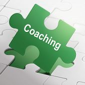 Coaching Word On Green Puzzle Pieces