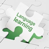 Language Learning On White Puzzle Pieces