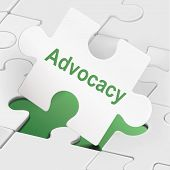 Advocacy Word On White Puzzle Pieces
