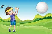 Illustration of a boy playing golf