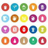 Variety Drink Flat Icons On White Background