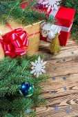 Holidays background witn gifts