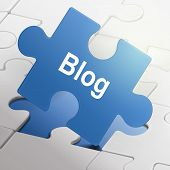 Blog Word On Blue Puzzle Pieces