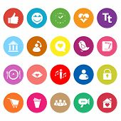 Chat Conversation Flat Icons On White Background