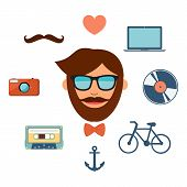 Hipster style icons set on white background.