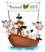 Illustration of a farmer on a boat with his animals on a white background