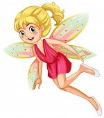 Illustration of a fairy with polkadot wings