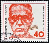 GERMANY - CIRCA 1973: a stamp printed in Germany shows Maximilian Kolbe Polish Priest