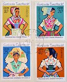 EAST GERMANY- CIRCA 1971: stamps printed in Germany shows Dance Costume circa 1971.
