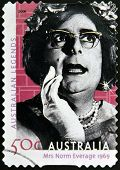 AUSTRALIA - CIRCA 2004: A stamp printed in australia shows Dame Edna Everage 1969 circa 2004