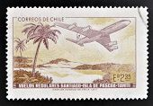 CHILE - CIRCA 1972: A stamp printed in Chile commemorates the establishment of regular flights