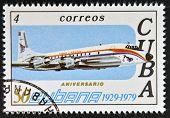 CUBA - CIRCA 1979: A stamp printed in Cuba celebrates the 50th anniversary of Cubana Airlines