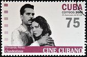 CUBA - CIRCA 2009: A stamp printed in Cuba dedicated to Cuban cinema shows Fernando Pérez