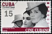 CUBA - CIRCA 2009: A stamp printed in Cuba dedicated to Cuban cinema shows Lucia by Humberto Solas