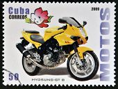CUBA - CIRCA 2009: A stamp printed in Cuba dedicated to the motorbikes shows Hyosung Gt B circa 2009
