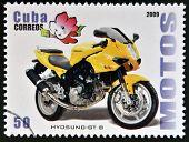 CUBA - CIRCA 2009: A stamp printed in Cuba dedicated to the motorbikes shows Hyosung Gt B circa 2009