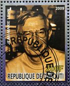 DJIBOUTI - CIRCA 2009: stamp dedicated to French Nobel chemistry prize shows Jean Marie Lehn