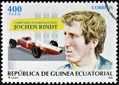 EQUATORIAL GUINEA -CIRCA 1995: stamp printed in Guinea dedicated to car champions shows Jochen Rindt