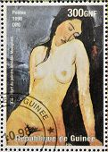 stamp printed in Republic of Guinea commemorates the death of the painter Amadeo Modigliani