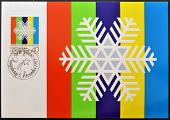 LIECHTENSTEIN - CIRCA 1983: A stamp printed in Liechtenstein shows white snow crystal circa 1983