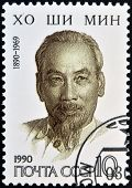 USSR - CIRCA 1990: stamp printed in USSR shows portrait of Ho Chi Minh