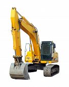 stock photo of dozer  - modern excavator isolated on the white background