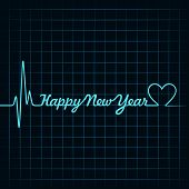 picture of happy new year 2013  - Illustration of heartbeat make happy new year text and heart symbol - JPG