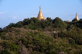 View Of Pagoda From Sagaing Hill,Myanmar.