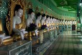 Row Of Buddhas In U Min Thonze Cave ,Sagaing Hill,Myanmar.