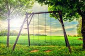 Lonely Swing At Summer Sunset