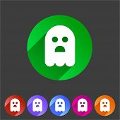 Halloween ghost flat icon badge