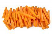 Fresh Carrots Sticks On White