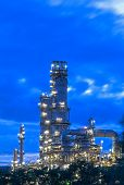 Oil Refinery At Twilight.