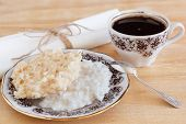 Brazilian Dessert Coconut Candy Cocada On Plate With Cup Of Coffee