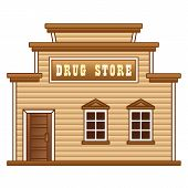 Wild West drug store building