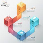 picture of parallelepiped  - Modern infographics process template with realistic colorful cubes and ribbons for 4 steps - JPG