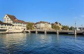 Zurich Cityscape With The Rudolf Brun Bridge