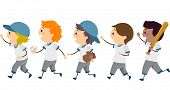 Illustration Featuring a Group of Young Baseball Players Walking Across the Street