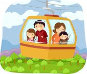 Illustration Featuring a Family in a Cable Car Checking Out the Forest Below